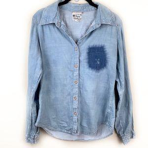 Distressed Chambray Button Down Long Sleeved Shirt